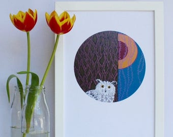 ON SALE Owl Circular Print