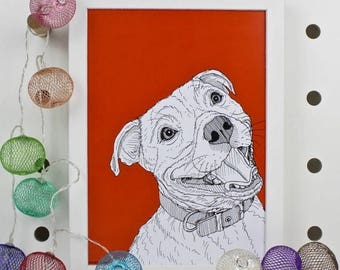 ON SALE Staffordshire Bull Terrier Dog Print