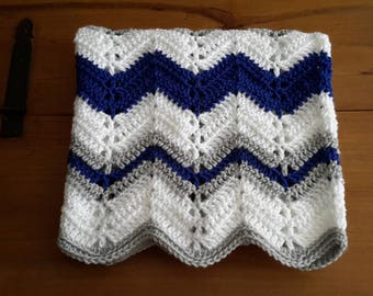 Royal blue baby afghan, blue and gray blanket, white blue and grey, chevron baby blanket, chevron afghan, ripple blanket, wave blanket