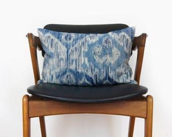 Blue Ikat Pillow | Indigo, Navy, Denim Blue and Beige Decorative Throw Pillow Case, Cushion Cover | 12x18 lumbar accent | Modern Home Decor