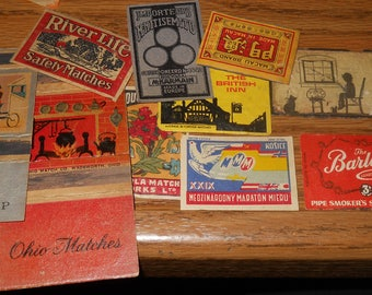 Lot of ~110~ Small Match Box Labels~Some Match Holders~Nice Assortment
