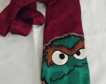 Vintage Neck Tie Necktie - Oscar The Grouch from Sesame Street - 1996 - 100% Silk Tie