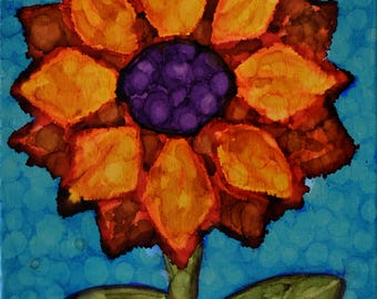 "Sunflower Painting ... Small 11 x 14"" Flower Art ... Small Canvas Art ... Alcohol Ink ... Floral Painting ... Ready to Hang Art"