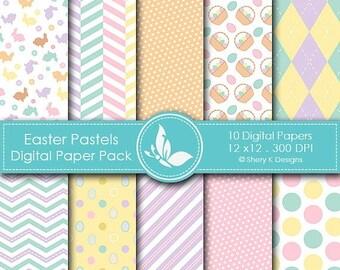 40% off Easter Pastels Paper Pack - 10 printable Digital Scrapbooking papers - 12 x12 - 300 DPI