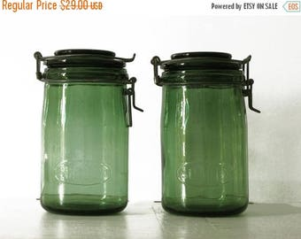 1 antique Green french canning jar ,SOLIDEX , large Size, french country decor, green glass