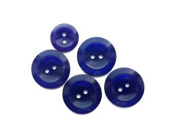 5 Flat Midnight Blue Plastic Buttons, 19mm