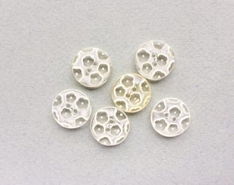 6 Vintage White & Clear Flower Buttons, 18mm