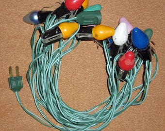 Vintage 20' String of Multi-Colored Christmas Lights -  Holiday Decoration