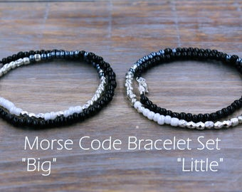Big Little Sorority Sister Bracelet Set, Big Little Bracelet, Big Little Jewelry, Sorority Sister Gift, Big Little Gift, Little Big Sorority
