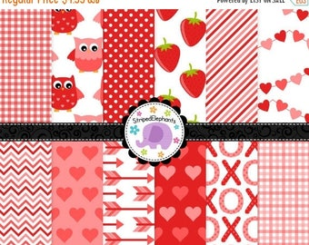 40% OFF SALE Valentine's Day Digital Paper Pack Red, Cute Valentines Digital Scrapbook Paper, Valentines Printable Paper, Commercial Use