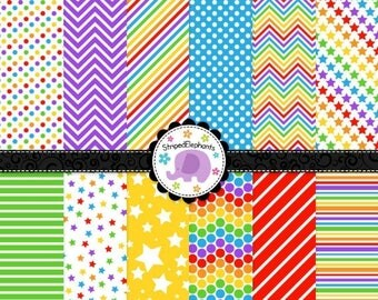 40% OFF SALE Rainbow Digital Paper Pack 2, rainbow digital scrapbook paper, digital background, Instant Download, Commercial Use