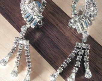 Glamorous vintage Crystal clip on earrings