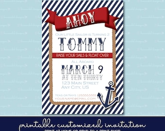 Nautical Birthday Invitation without Photo
