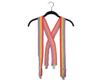 Vintage Rainbow Stretchy Suspenders, Made in USA