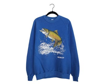 Vintage 1985 Jumping Fish Michigan Bright Blue LSJ Black 50/50 Poly-Cotton Blend Crewneck Sweatshirt, Made in USA - XL