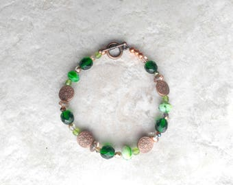 Bracelet, clover green and copper, st pattys day jewelry, stackable, gifts for women, womens fashion, glass, march, birthday gift idea