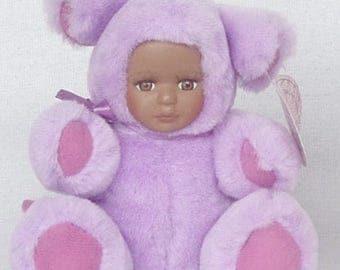 "P-bear A 5"" purple plush teddy bear tiger with African American porcelian face"