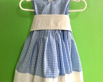 Dorothy, Blue and White Gingham Dress with Detatchable Sash size 6 months