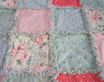 Crib Size Rag Quilt - Crib Rag Quilt - Lap Rag Quilt - Rag Throw - Mint and Coral Rag Quilt - Mint Gold and Coral Rag Quilt - Free Shipping