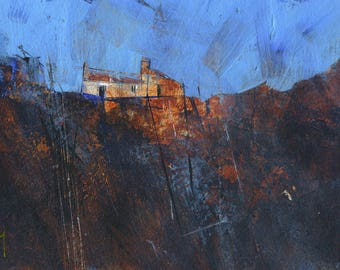Original moorland cottage painting by Paul Bailey: Bwthyn ar rostir du
