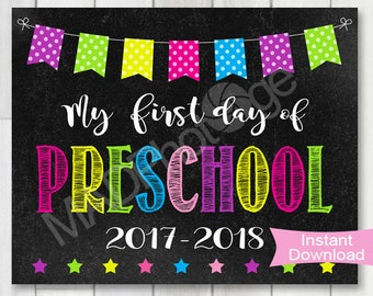 My First Day of Preschool Girl Chalkboard sign, Instant Download, 1st Day of School printable, Back to school, Preschool graduation invite