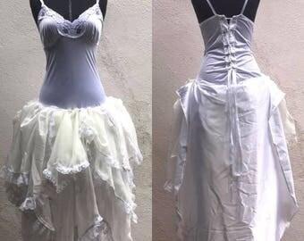 Steampunk Wedding Dress - Steampunk Lady White Wedding Dress - Made to Order - Halloween Costume