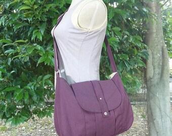 On Sale 20% off purple cotton canvas messenger bag / shoulder bag / everyday bag / diaper bag / cross body bag - 6 pockets