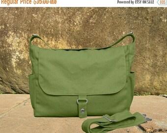 On Sale 20% off messenger bag, grass green diaper bag, shoulder bag, canvas travel bag with zipper closure