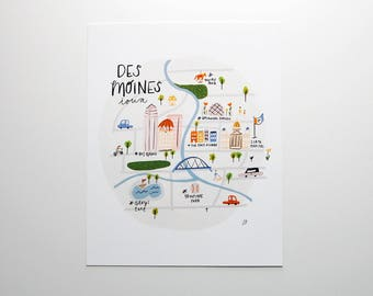 Des Moines Illustrated Map Print 8x10