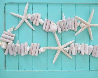 Nautical Whitewashed Driftwood/Seashell/Starfish Garland