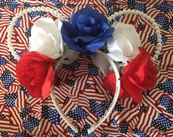 Fourth of July patriotic pearl mouse ears