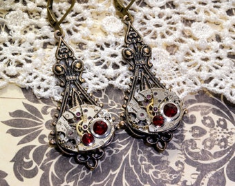 JULY Steampunk Earrings Steampunk Jewelry Wedding RED RUBY Earrings Bronze Steam Punk Victorian Steampunk Jewelry VictorianCuriosities