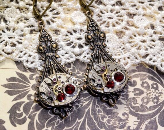 JULY Steampunk Earrings Steampunk Jewelry Wedding RED RUBY Earrings Bronze Steam Punk Victorian Steampunk Jewelry VictorianCuriosities