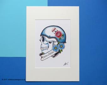 Live To Ride Biker Sugar Skull Tattoo Flash Illustration Print