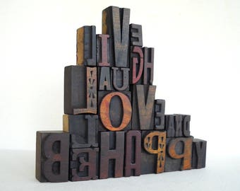 25% OFF - Live Laugh Love and Be Happy- Vintage Letterpress Wood Type Alphabets Collection - Art Installation - VG10