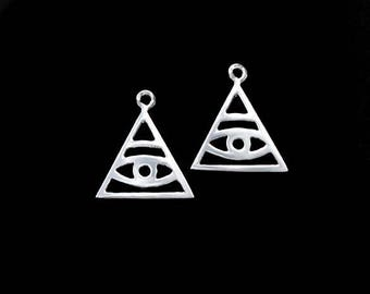 2 of 925 Sterling Silver Evil Eye Charms 13mm. :tm0006