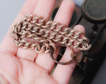 Antique chain, finding, original dark patina, metal