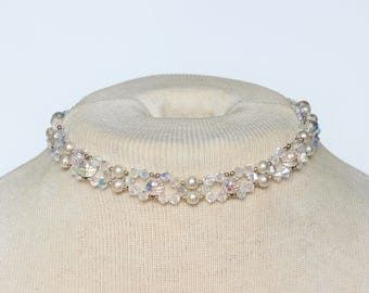 Vintage Faux Pearl Clear Aurora Borealis Cut Glass Beaded Woven 1/20 14KT Karat Gold Filled Clasp Collar Choker Length Necklace