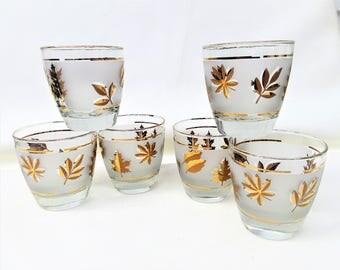 Vintage Bar Glasses | Gold Leaf Glasses | Rocks Glasses | Libbey Frosted Glassware | Juice Glasses | High Ball Glasses – Set of 6