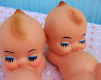 Vintage Kewpie/Kewtie Rubber Doll, Reclining, ONE, Larger