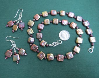 Rosy Purple Square Coin Pearl & Crystal Necklace with Cluster Earrings