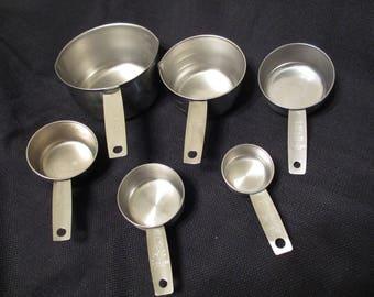 Set of 6 Stainless Steel Measuring Cups, Foley & Ekco, Baking, Cooking, Vintage Kitchen, See Description