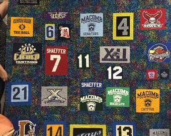 T-shirt Quilt, Fraternity Quilt, Sorority Quilt, Custom Memory Quilt, custom t-shirt quilts, memory quilt, T shirt blanket, Jersey quilt