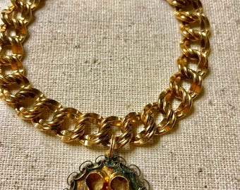 Vintage Gold Filled Double Link Charm Bracelet with Baby Shoe Charm