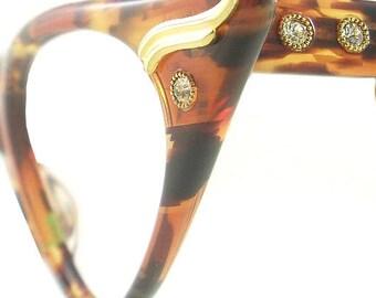 Vintage Cat Eye Glasses Eyeglasses Sunglasses New Frame Eyewear Marbled Green And Browns