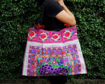 Hmong Embroidered Tote Bag, Boho Shopping Bag, Thai Handbag, Purple Floral Hmong Shoulder Bag, Thai Pom Pom handbag