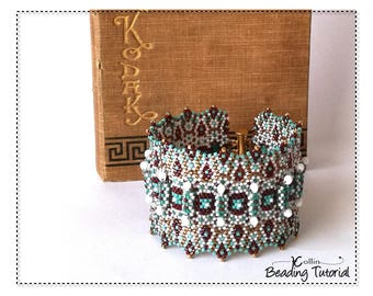 Wide Geometric Peyote Stitch Cuff with Ethnic Patterning Soft ZigZag Waves Structural Bracelet with Beaded Faux Hinges Tutorial GATEWAY CUFF