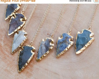40 OFF - Arrowhead Necklace - Agate Arrowhead Necklace - Layering Necklace - Bohemian Necklace - Boho Hippie Chic Necklace - Rough Stone Nec