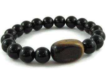 Mens Beaded Bracelet, Tiger Eye, Black Onyx Chakra Yoga Jewelry, Fathers Day, Graduation Boyfriend Husband Gift, Protection Healing Crystals