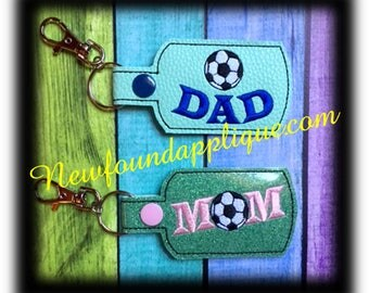 In the hoop Soccer Ball MOM, DAD Key fob embroidery Machine Design Set